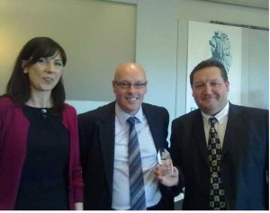 Sally Evans from RESCUE main sponsor Thames Water, Brian McDermott from Reading FC, and Chair of the RESCUE Organising Committee Ricky Josey